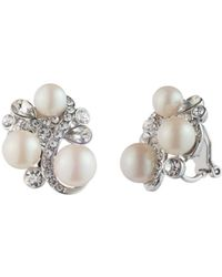 Carolee - Simulated Pearl Cluster Clip-on Earrings - Lyst