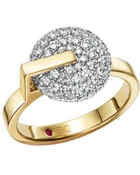 Roberto Coin - 18k White & Yellow Gold Diamond Disk Ring - Lyst