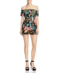 Guess - Off-the-shoulder Lace-up Linen Romper - Lyst