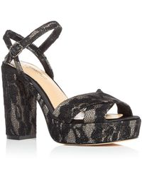 Imagine Vince Camuto - Women's Valora Satin & Lace Block Heel Platform Sandals - Lyst