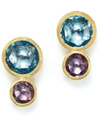 Marco Bicego - 18k Yellow Gold Jaipur Two Stone Earrings With Blue Topaz And Amethyst - Lyst