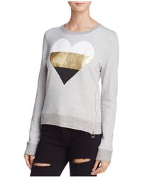 Sundry - Metallic Heart Side-zip Sweatshirt - Lyst