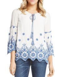 6197fca7eb7ac Karen Kane Lace Bell Sleeve Top in White - Lyst
