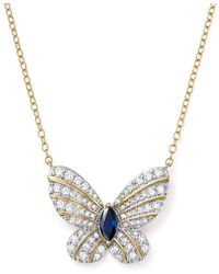 """Bloomingdale's - Diamond And Blue Sapphire Butterfly Pendant Necklace In 14k Yellow Gold, 17"""" - Lyst"""