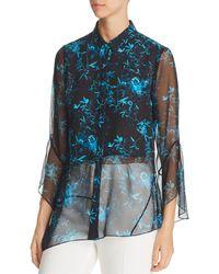 Elie Tahari - Layla Asymmetric Floral Silk Blouse - Lyst