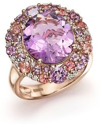 Bloomingdale's | Purple Amethyst, Pink Amethyst, Pink Tourmaline And Diamond Cocktail Ring In 14k Rose Gold | Lyst