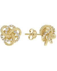 Lagos - 18k Yellow Gold Love Knot Stud Earrings With Diamonds - Lyst