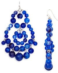 Aqua - Beaded Chandelier Earrings - Lyst