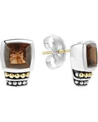 Lagos - 18k Gold And Sterling Silver Caviar Colour Smoky Quartz Stud Earrings - Lyst