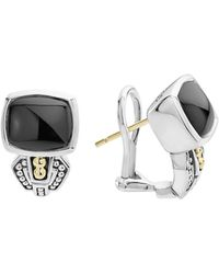 Lagos - 18k Gold And Sterling Silver Caviar Colour Onyx Huggie Drop Earrings - Lyst