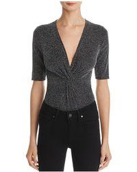 Aqua - Metallic Twist-front Bodysuit - Lyst