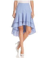 Aqua - Striped Ruffled High/low Skirt - Lyst