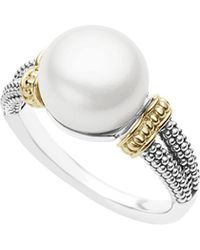 Lagos - 18k Gold And Sterling Silver Luna Ring With Cultured Freshwater Pearl - Lyst