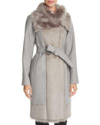 Vince Camuto - Faux Fur Trim Belted Wrap Coat - Lyst