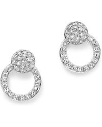 KC Designs - 14k White Gold Diamond Mini Circle Earrings - Lyst
