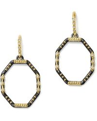Armenta - 18k Yellow Gold And Blackened Sterling Silver Old World Diamond Octagon Drop Earrings - Lyst