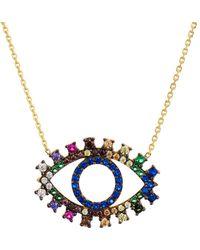 "Aqua - Multi Color Eye Pendant Necklace, 15"" - Lyst"