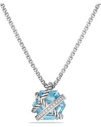 David Yurman | Petite Cable Wrap Necklace With Blue Topaz And Diamonds | Lyst