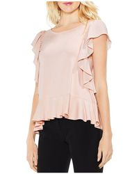 Vince Camuto - Mixed Media Flutter Top - Lyst