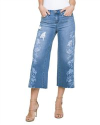 Liverpool Jeans Company - Printed Wide-leg Crop Jeans In Melbourne - Lyst