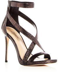 Imagine Vince Camuto - Women's Devin Lizard Embossed Leather Crisscross High Heel Sandals - Lyst