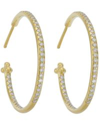 Temple St. Clair - Pave Hoop Earrings In 18k Yellow Gold, 1.57 Ct. T.w. - Lyst
