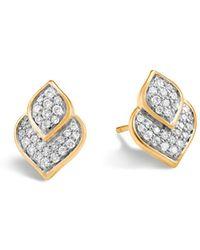 John Hardy - 18k Yellow Gold Legends Naga Pavé Diamond Stud Earrings - Lyst