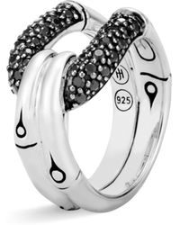 John Hardy - Sterling Silver Bamboo Ring With Black Sapphire And Black Spinel - Lyst