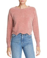Aqua - Scalloped Cropped Chenille Sweater - Lyst
