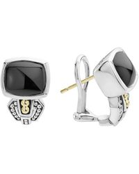 Lagos - 18k Gold And Sterling Silver Caviar Color Onyx Huggie Drop Earrings - Lyst