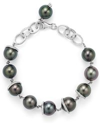 Tara Pearls - 18k White Gold Oscar Natural Colour Tahitian Cultured Pearl And Diamond Bracelet - Lyst