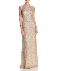 Adrianna Papell - Off-the-shoulder Sequined Gown - Lyst