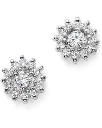 KC Designs - 14k White Gold Diamond Sunburst Earrings - Lyst