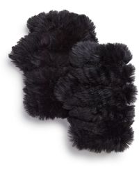 Jocelyn - Knit & Rabbit Fur Fingerless Gloves - Lyst