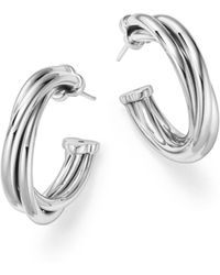 Roberto Coin - 18k White Gold Classic Twisted Hoop Earrings - Lyst