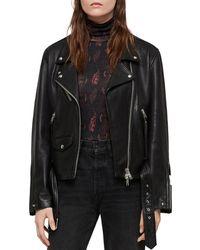 AllSaints - Billie Leather Biker Jacket - Lyst