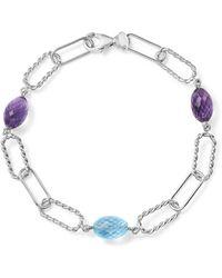 Bloomingdale's - Amethyst And Blue Topaz Twisted Link Bracelet In Sterling Silver - Lyst