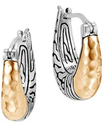 John Hardy - Sterling Silver & 18k Bonded Yellow Gold Hammered Arc Small Hoop Earrings - Lyst