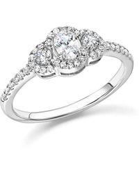 Bloomingdale's - Diamond Oval And Round Cut Center Ring In 14k White Gold, .50 Ct. T.w. - Lyst