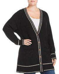 Lucky Brand - Stripe Trim Tunic Cardigan - Lyst