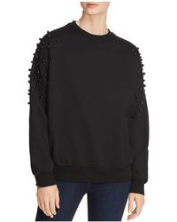 Aqua - Pearl Embellished Sweatshirt - Lyst