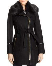 Via Spiga - Faux Fur-collar Asymmetric Belted Coat - Lyst