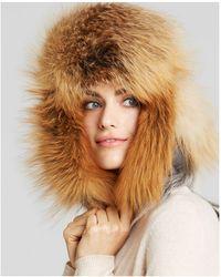 Maximilian - Maximilian Fox Fur Trimmed Hat - Lyst