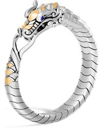 John Hardy - 18k Yellow Gold & Sterling Silver Legends Naga Bracelet With Blue Sapphire Eyes - Lyst