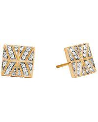 John Hardy | 18k Yellow Gold Modern Chain Stud Earrings With Diamonds | Lyst