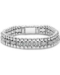 Lagos - Sterling Silver Caviar Spark Diamond Link Bracelet - Lyst