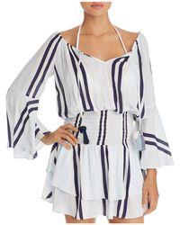 Surf Gypsy - Off-the-shoulder Stripe Ruffle Hem Dress Swim Cover-up - Lyst