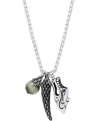 """John Hardy - Sterling Silver Legends Naga Eagle Eye & Dragon Charm Pendant Necklace With Sapphire Eyes, 26"""" - Lyst"""