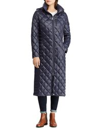 3c749aed3d93c Lyst - Kristen Blake Hooded Diamond Quilted A-line Down Coat in Green