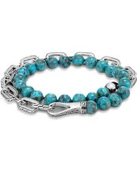 John Hardy | Sterling Silver Classic Chain Turquoise With Black Matrix Double Wrap Beaded Bracelet | Lyst